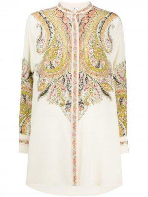 Удлиненная рубашка с принтом пейсли Etro. Цвет: желтый