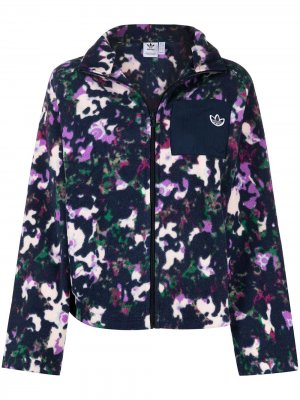 Куртка на молнии с абстрактным принтом adidas. Цвет: фиолетовый