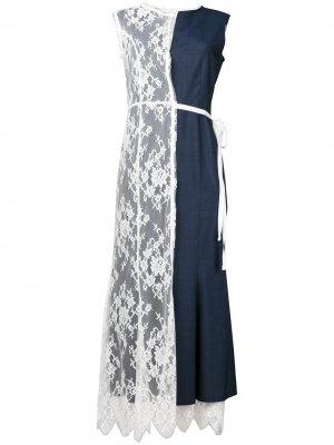 Платье с кружевной вставкой Junya Watanabe. Цвет: синий