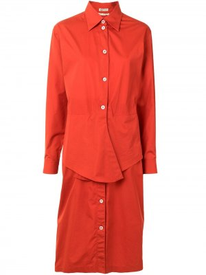 Платье-рубашка с завязками на талии Hermès. Цвет: красный