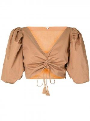 Укороченная блузка со сборками Johanna Ortiz. Цвет: коричневый
