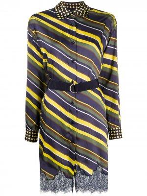 Платье-рубашка в полоску Ermanno. Цвет: желтый