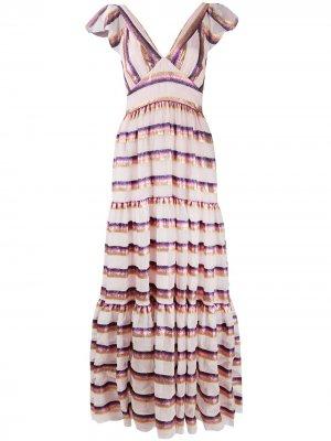 Ярусное платье макси Melina Temperley London. Цвет: розовый