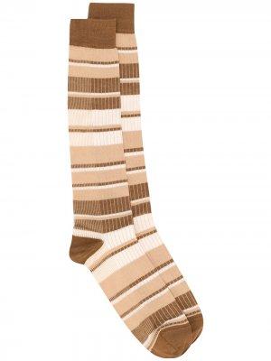 Носки в рубчик с полосками Marni. Цвет: коричневый