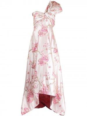 Жаккардовое платье на одно плечо Tadashi Shoji. Цвет: розовый