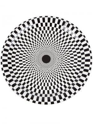 Поднос с оптическим принтом Fornasetti. Цвет: черный