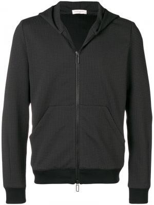 Куртка в ломаную клетку на молнии Paolo Pecora. Цвет: черный