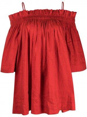 Блузка с открытыми плечами Uma Wang. Цвет: красный