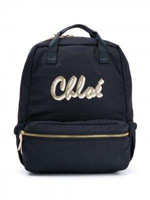 Рюкзак с логотипом Chloé Kids. Цвет: синий