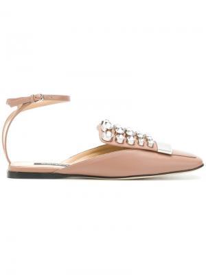 Embellished square toe pumps Sergio Rossi. Цвет: розовый