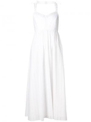 Расклешенное платье с вышивкой Thakoon. Цвет: белый