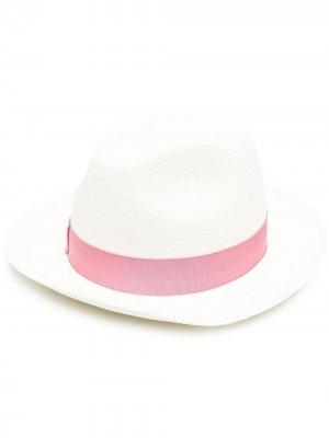 Шляпа с контрастной лентой Borsalino. Цвет: белый