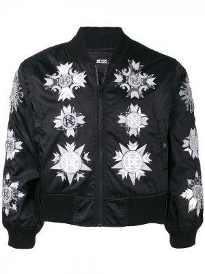 Куртка-бомбер с отделкой KTZ. Цвет: черный