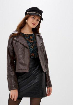 Куртка кожаная b.young. Цвет: коричневый