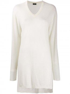 Удлиненный кашемировый пуловер Joseph. Цвет: белый