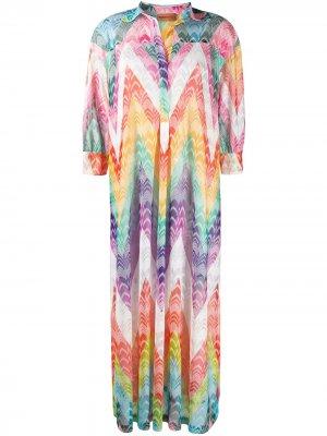 Платье-рубашка миди с принтом зигзаг Missoni Mare. Цвет: оранжевый