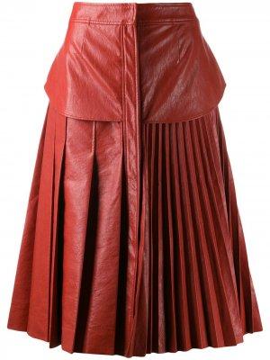 Плиссированная юбка из искусственной кожи Cédric Charlier. Цвет: оранжевый