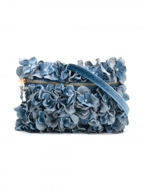 Сумка на плечо с цветочной аппликацией Monnalisa. Цвет: синий