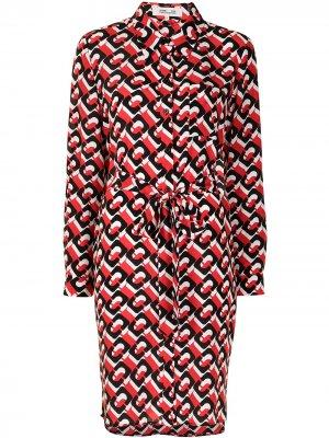 Платье-рубашка Milly DVF Diane von Furstenberg. Цвет: разноцветный