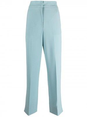 Прямые брюки с завышенной талией Emporio Armani. Цвет: синий