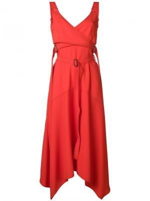 Платье с поясом Sportmax. Цвет: красный