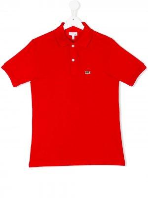 Рубашка-поло с вышитым логотипом Lacoste Kids. Цвет: красный