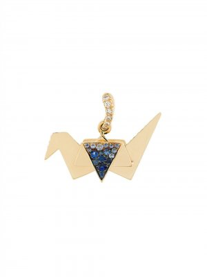 Подвеска Origami из желтого золота с сапфирами и бриллиантами Aurelie Bidermann. Цвет: золотистый