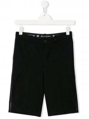 Шорты строгого кроя с контрастными полосками Givenchy Kids. Цвет: черный