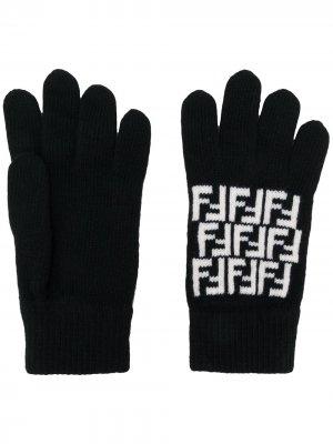 Трикотажные перчатки с логотипом FF Fendi. Цвет: черный