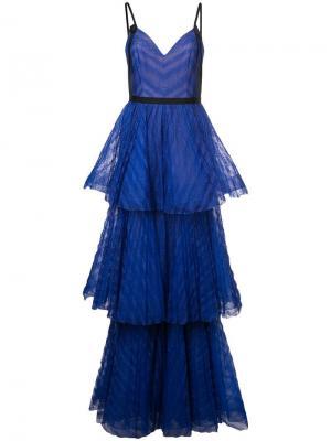 Long empire line dress Marchesa Notte. Цвет: синий