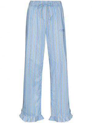 Пижамные брюки в полоску GANNI. Цвет: синий
