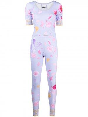 Комплект из топа и брюк с цветочным принтом Seen Users. Цвет: фиолетовый