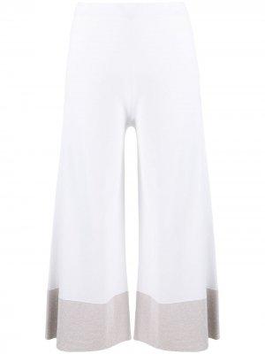 Укороченные брюки с контрастной отделкой D.Exterior. Цвет: белый