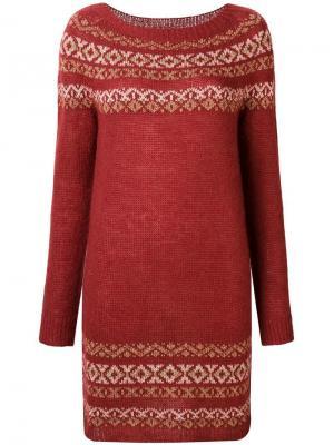 Короткое вязаное платье Twin-Set. Цвет: красный