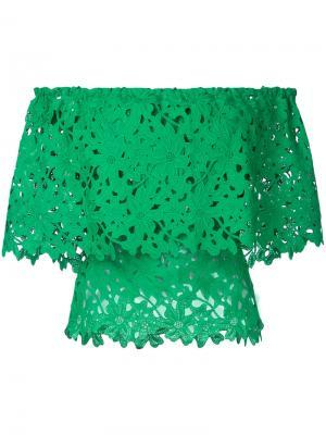 Кружевной топ с открытыми плечами Bambah. Цвет: зеленый