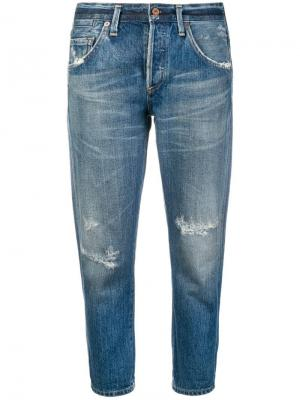 Cropped distressed jeans Citizens Of Humanity. Цвет: синий