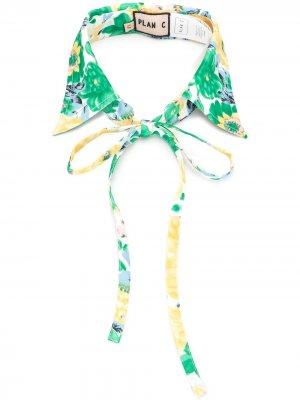 Съемный воротник с цветочным принтом Plan C. Цвет: зеленый