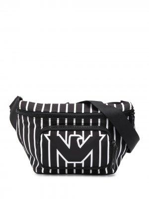Полосатая поясная сумка с логотипом Emporio Armani. Цвет: черный