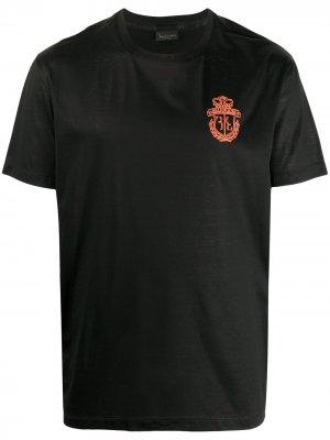 Футболка с вышитым логотипом Billionaire. Цвет: черный