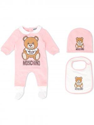 Комплект для новорожденного с принтом Moschino Kids. Цвет: нейтральные цвета
