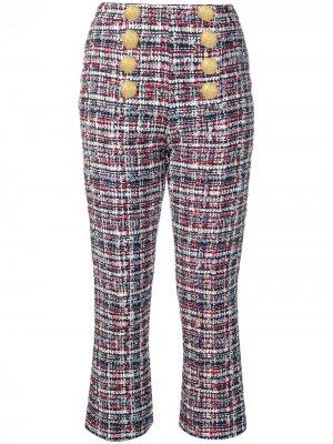 Твидовые брюки с пуговицами Balmain. Цвет: синий