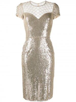 Декорированное платье с пайетками Jenny Packham. Цвет: золотистый