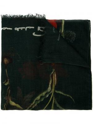 Шарф с цветочным принтом Oscar de la Renta. Цвет: зеленый