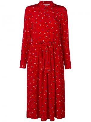Платье миди с длинными рукавами цветочным принтом Chinti & Parker. Цвет: красный