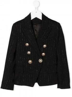 Двубортный пиджак в тонкую полоску Balmain Kids. Цвет: черный