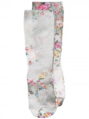Сетчатые носки с цветочным узором MSGM. Цвет: серый