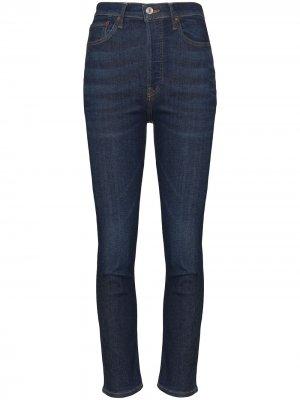 Укороченные джинсы скинни с завышенной талией RE/DONE. Цвет: синий