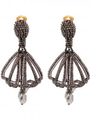 Серьги-подвески с кристаллами Oscar de la Renta. Цвет: черный