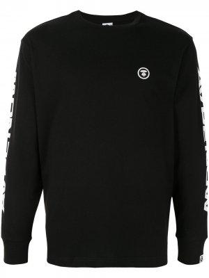 Топ с длинными рукавами и логотипом AAPE BY *A BATHING APE®. Цвет: черный