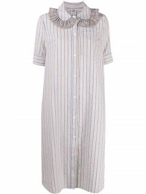 Платье-рубашка с оборками Baum Und Pferdgarten. Цвет: нейтральные цвета